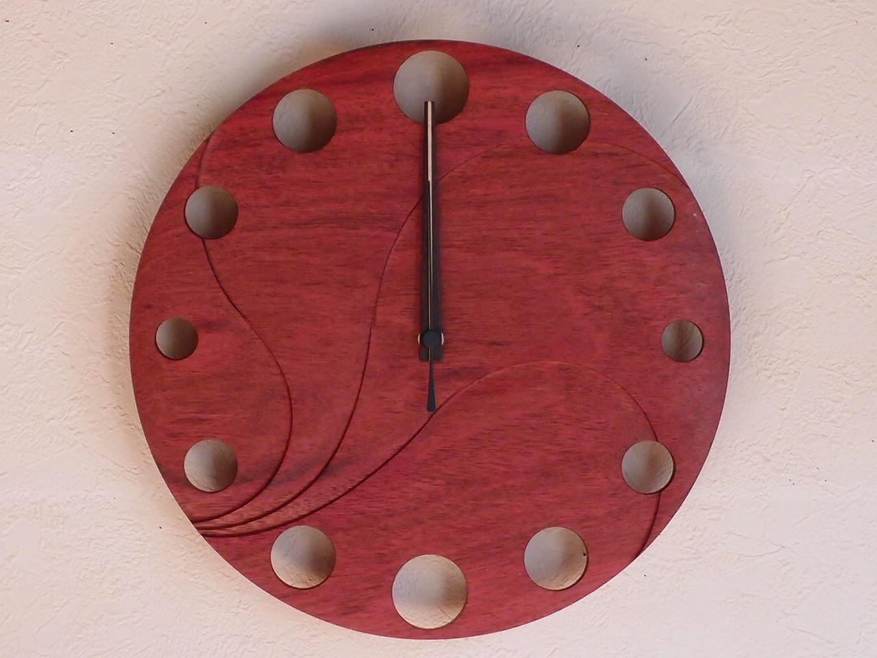 手作り木製電波掛け時計 パープルハート