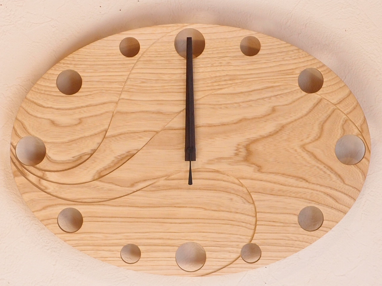手作り木製電波掛け時計 せん