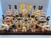 木のおもちゃ知育玩具、コロポコ積木パズル(デラックスW)1~10、A~Z