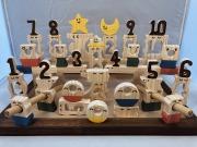 木のおもちゃ知育玩具、コロポコ積木パズル(デラックス)1~10