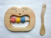 木のおもちゃ、ワンニャン歯がため&楓の子供スプーンセット