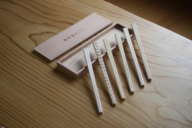 文様割箸6膳杉箱セット