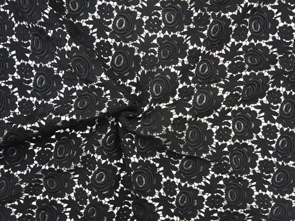 イタリア製輸入生地 【ウールレース】 花柄モチーフ/スカート着分1.8m