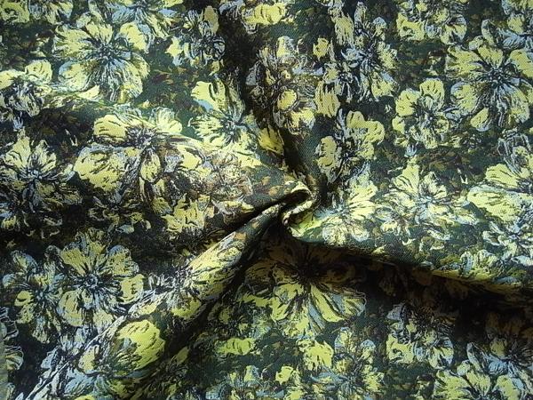イタリア製輸入生地 【一流ブランド使用】 シルクコットン混ジャガード織/ワンピース着分1.7m