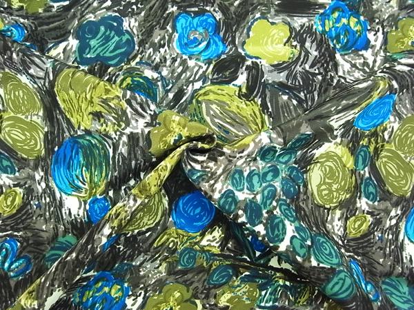 イタリア製生地 【GIANNI VALENTINO】 ミディアムヘビーシルク/花柄プリント/1着分2.5m