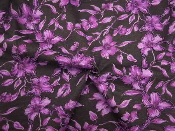 イタリア製輸入生地 【ウールジャージ刺繍】 花柄プリント/1着分3.7m