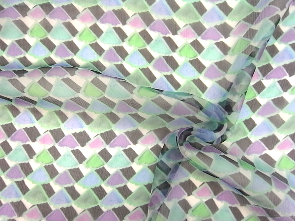 イタリア製輸入生地 【ARMANI/アルマーニ社使用】 ピュアシルクシフォン 幾何学柄プリント 0.1m (10cm)単位