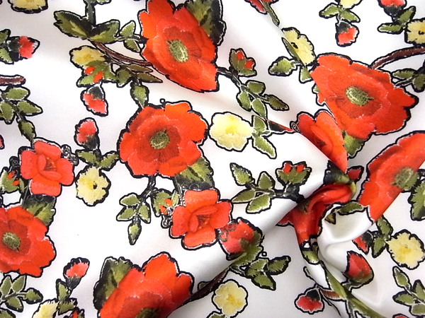 イタリア製輸入生地 【ストレッチ混シルクサテン】 花柄プリント 0.1m (10cm)単位