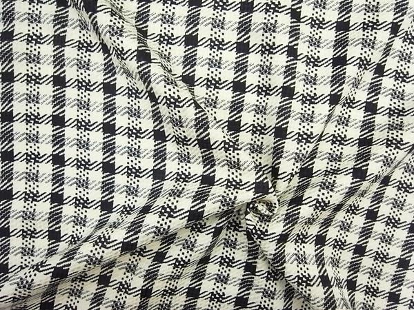 イタリア製輸入生地 【ピュアシルクデシン】 モノトーンチェックプリント/ワンピース着分2.0m