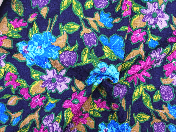 イタリア製輸入生地 【シルクウール】フクレ織り/花柄プリント/0.1m (10cm)単位