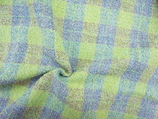 イタリア製輸入生地 【リングツィード】 パステルカラーチェック/ロングジャケット着分1.9m