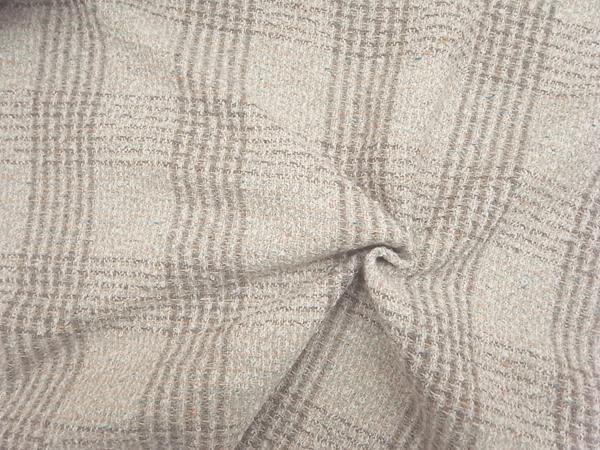 イタリア製輸入生地 【AGNONA/アニオナ社】 アルパカ混リングツィード/ミルキーチェック/0.1m (10cm)単位