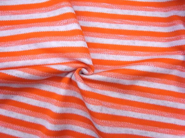 英国製輸入生地 【DORMEUIL/ドーメル社】 コットンベースニット織/オレンジボーダー柄/ブラウス分1.4m