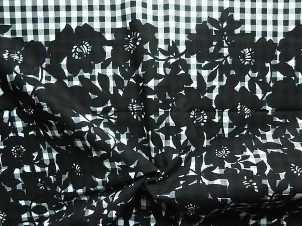 日本製生地 【ピュアコットン】 ギンガムチェック花柄プリント/1パネル110cm×110cm