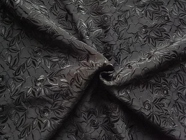 日本製生地 【ピュアヘビーシルク】 花柄刺繍/1着分3.5m