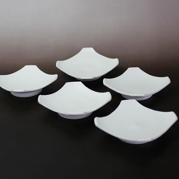 白い器 角型小皿 5枚組(磁器)