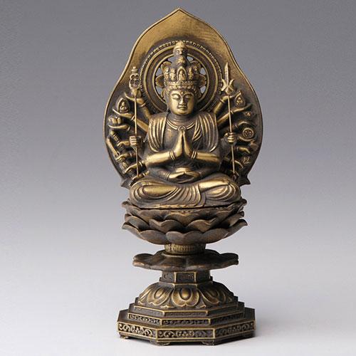 千手観音 - 合金製 古美金仕上げ 総高15.5cm 高岡銅器