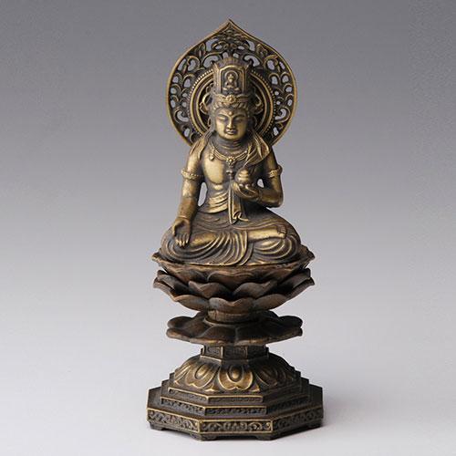 虚空蔵菩薩 - 合金製 古美金仕上げ 総高15cm 高岡銅器
