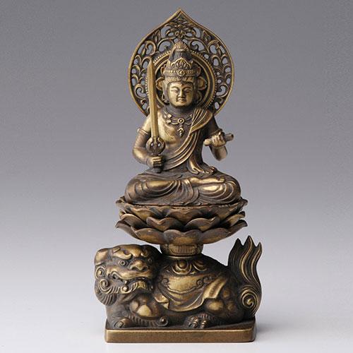 文殊菩薩 - 合金製 古美金仕上げ 総高15cm 高岡銅器