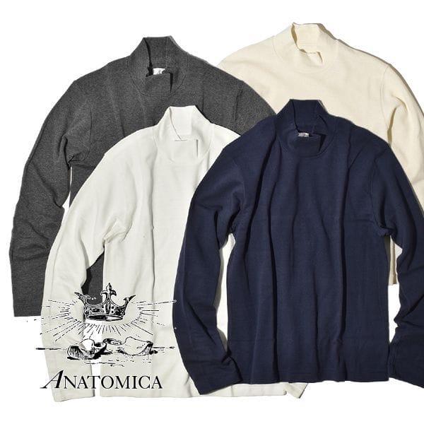ANATOMICA アナトミカ モックネック Tシャツ TEE MOCK NECK TEE L/S 長袖 Tシャツ 無地 カットソー メンズ レディース 日本製