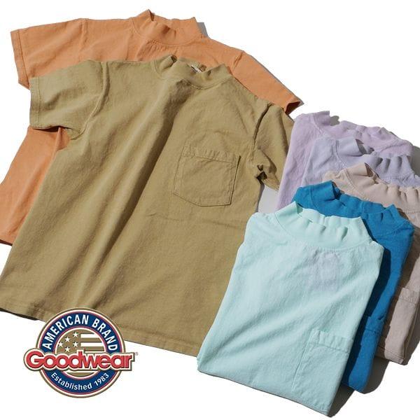 【国内正規品】 2021年モデル グッドウェア Goodwear ポケT TEE ポケット モックネック Tシャツ 白T 丸胴 ホールガーメント アメリカ製