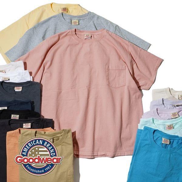 2021年モデル グッドウェア Goodwear ビッグ ポケT TEE BIG 半袖 S/S ポケット Tシャツ ビッグサイズ 白T 丸胴 ホールガーメント アメリカ製 MADE IN USA
