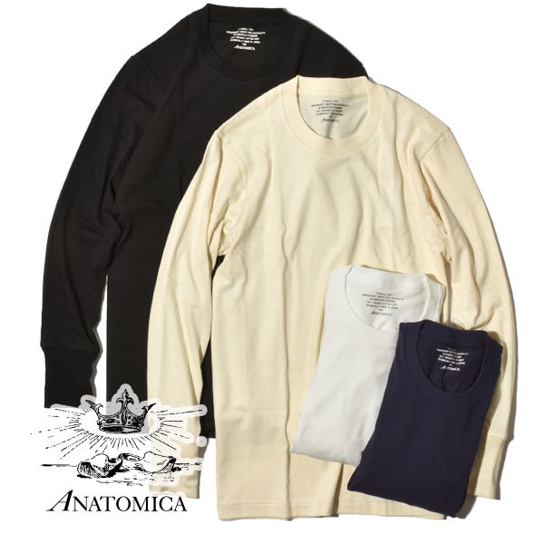アナトミカ オーガニックTEE Tシャツ ロンT 長袖 無地 カットソー ANATOMICA メンズ レディース ORGANIC TEE L/S