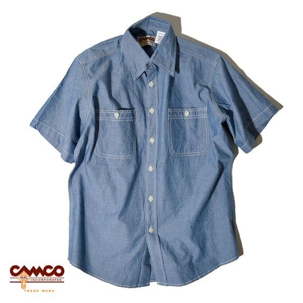 【30%OFF SALE セール】CAMCO カムコ シャンブレー シャツ 半袖 ワークシャツ