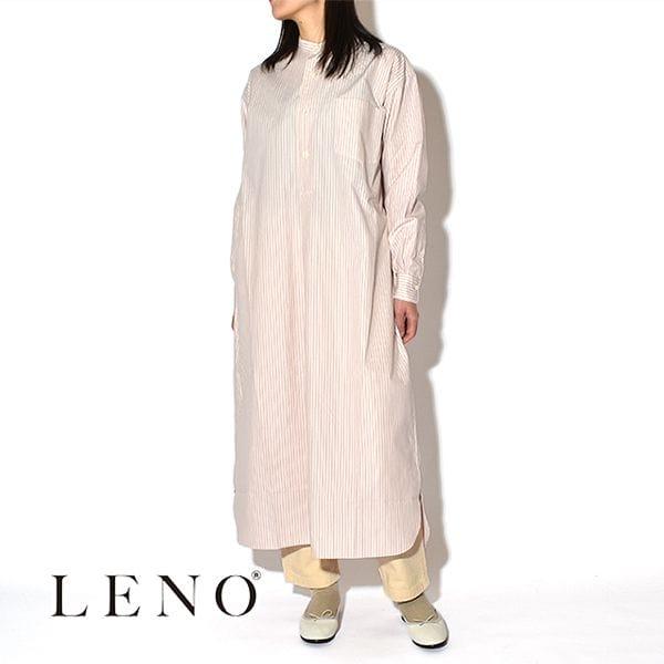【SALE】LENO リノ BAND COLLAR PULLOVER DRESS STRIPE バンドカラー ストライプ プルオーバードレス 日本製 ワンピース