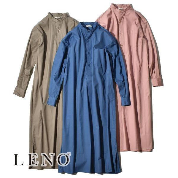 【SALE】LENO リノ BAND COLLAR PULLOVER DRESS バンドカラープルオーバドレス シャツ ワンピース
