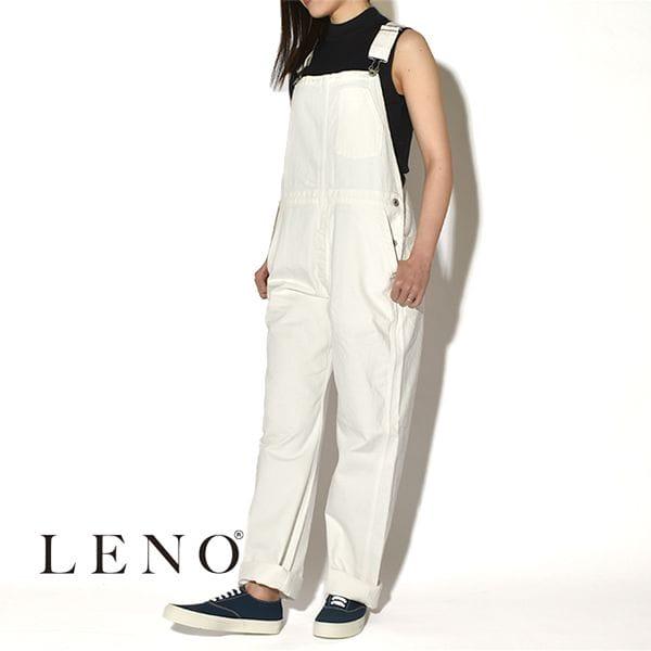 "【SALE】LENO リノ""OVERALLS"" WHITE オーバーオール ホワイト 片ポケット"