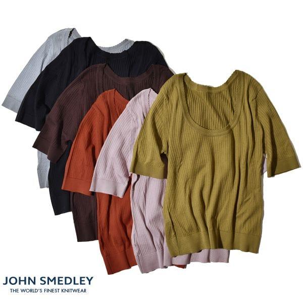 【日本別注】【正規品】ジョンスメドレー レディース JOHN SMEDLEY 半袖 2WAY スカラップ ニット リブ S4335 30ゲージ シーアイランドコットン イギリス製