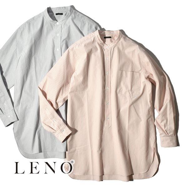 【SALE】LENO リノ BAND COLLAR SHIRT STRIPE バンドカラー ストライプ シャツ ユニセックス