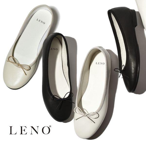 LENO リノ BALLET SHOES バレエシューズ スムース カウレザーWHITE  BLACK IVORY ブラック アイボリー ホワイト