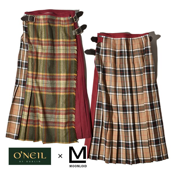 O'neil of Dublin オニール オブ ダブリン MOONLOID 別注 マルチコンボ ラップスカート 巻きスカート グレー BRUSHED WOOL TWEED ツイード WORSTED WOOL 61cm ミディアム丈