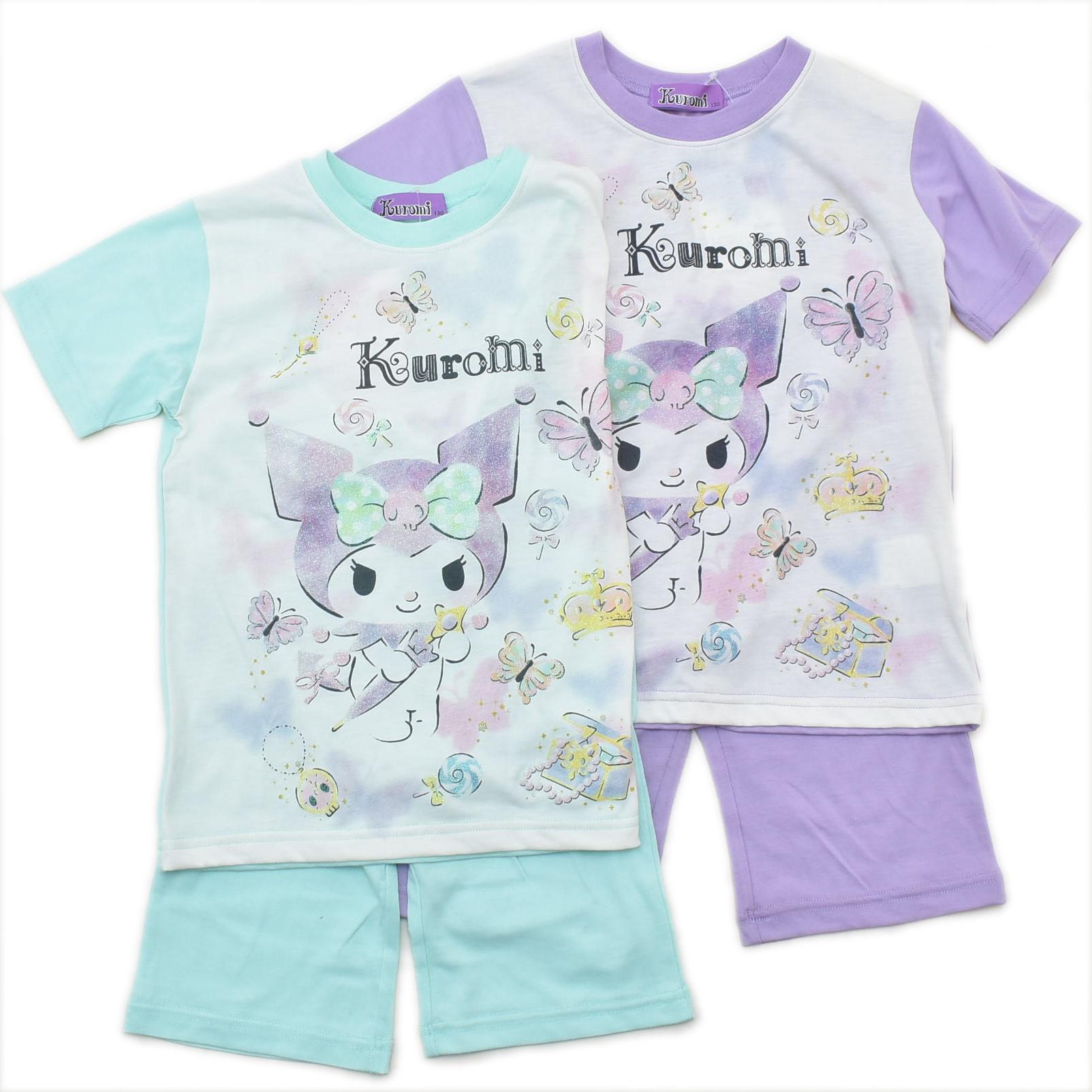 サンリオ クロミちゃん kuromi  半袖Tシャツ生地のパジャマ ジュニア 130cm-150cm  (032KU0072)