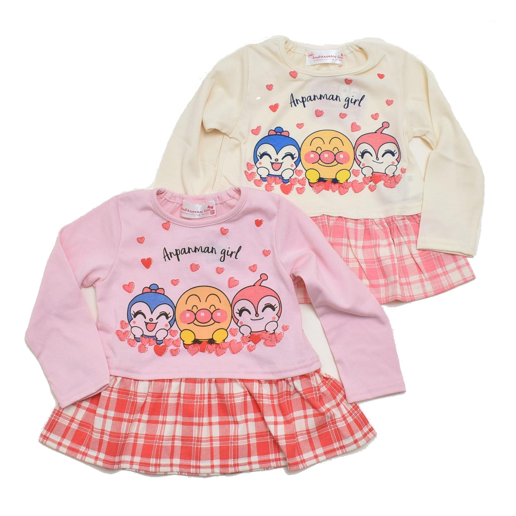 アンパンマンガール ドキン コキン 長袖Tシャツ  90cm/95cm (FA3495)