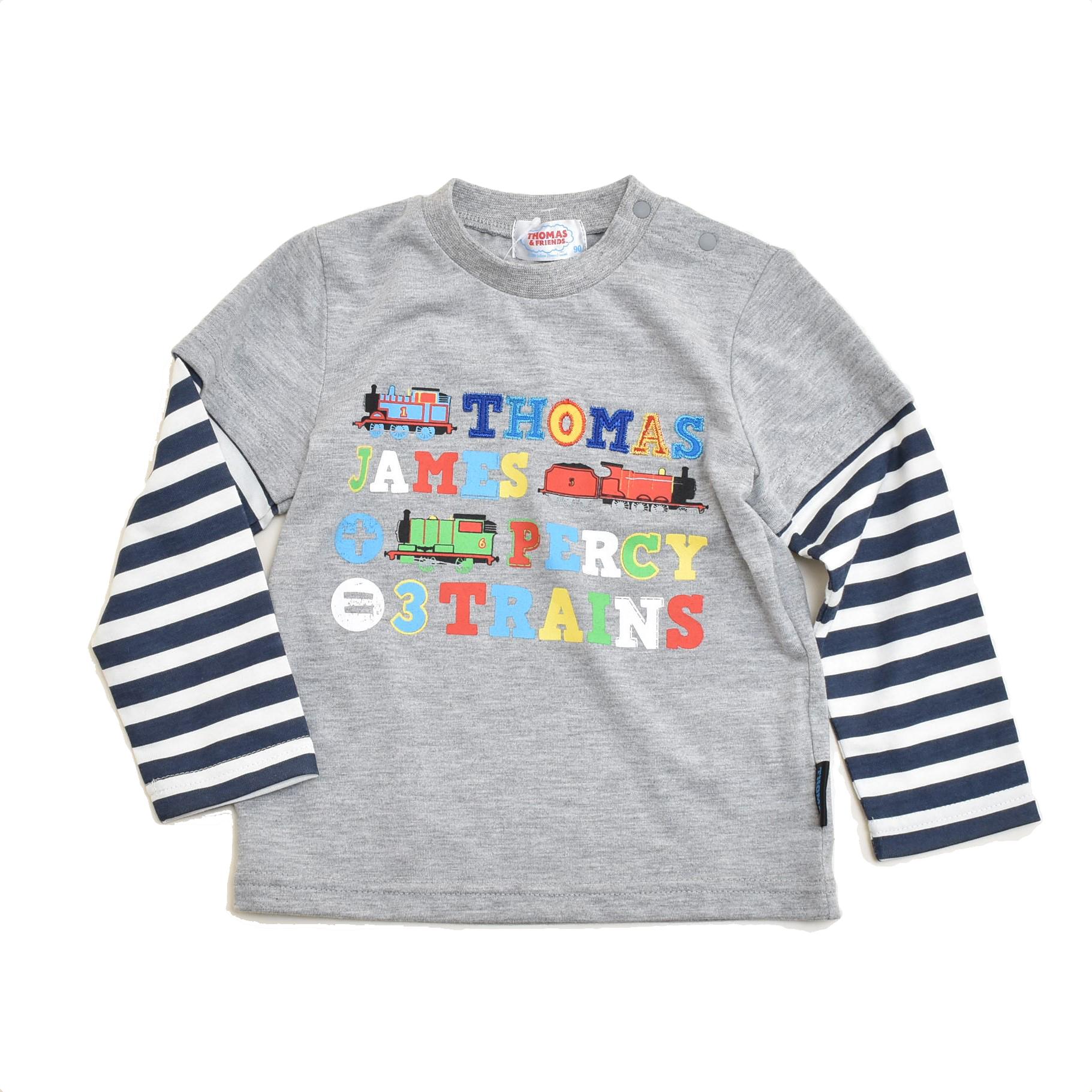 きかんしゃトーマス  長袖Tシャツ グレー (322161007-03)