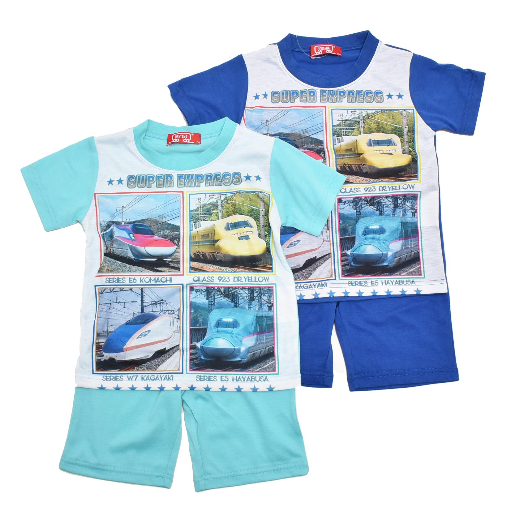 でんたま(新幹線) 半袖Tシャツ生地のパジャマ 100cm-130cm  (132DT0071)