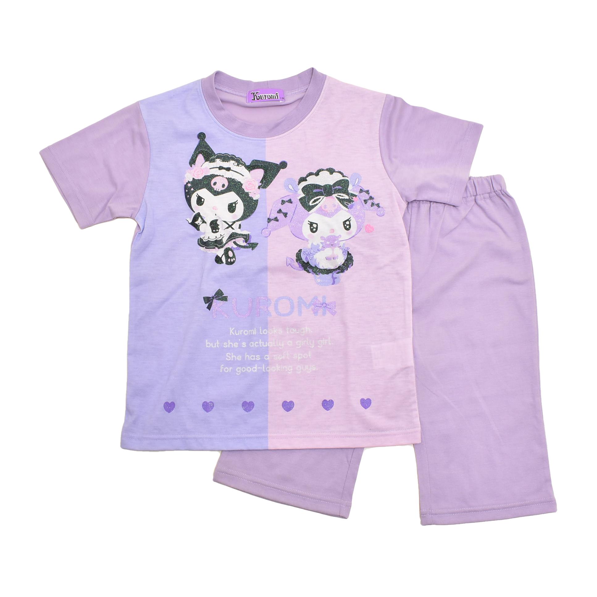 サンリオ クロミちゃん kuromi  半袖Tシャツ生地のパジャマ ジュニア 130cm-150cm  (132KU0072)