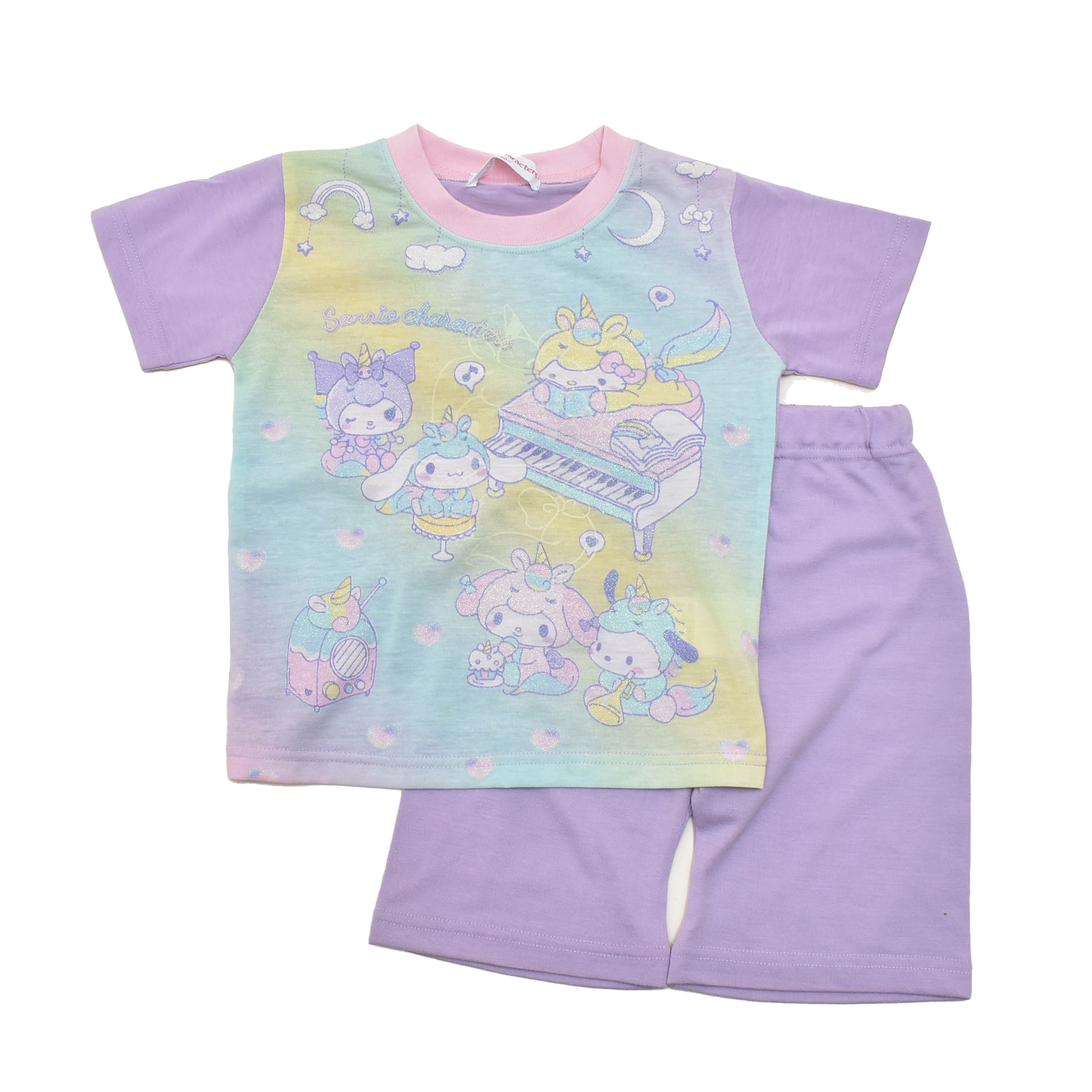 サンリオ キャラクターズ  光る 半袖Tシャツ生地のパジャマ  100-130cm(132SK0101-PP)