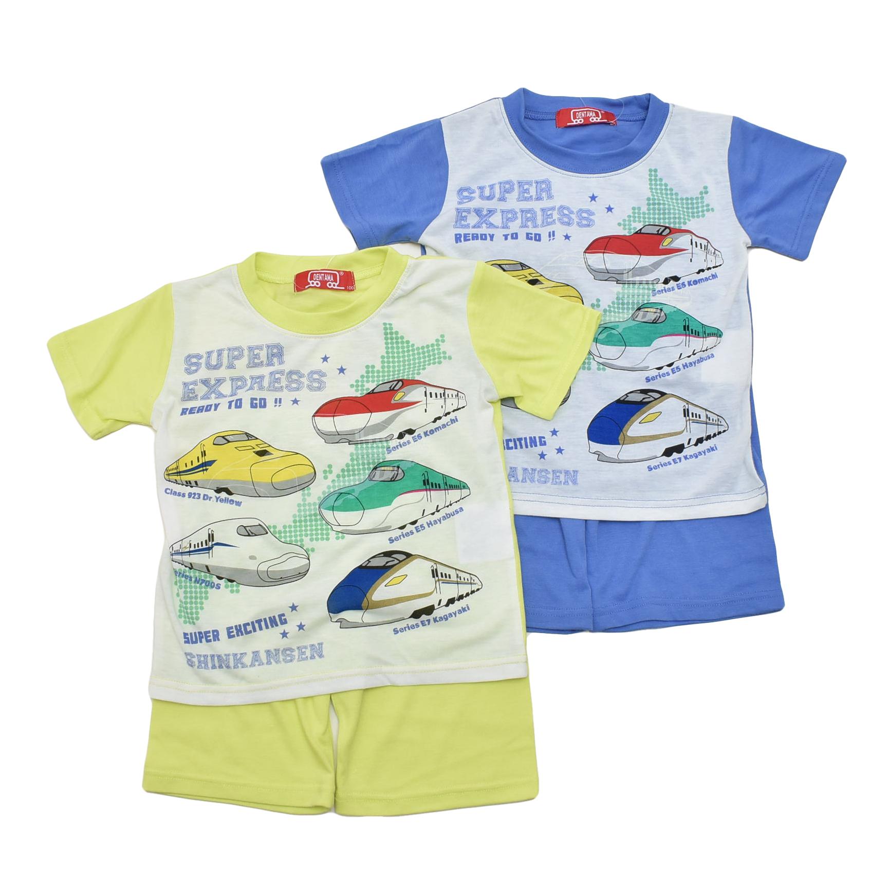 でんたま(新幹線) 光る 半袖Tシャツ生地のパジャマ  100-130cm(132DT0101)