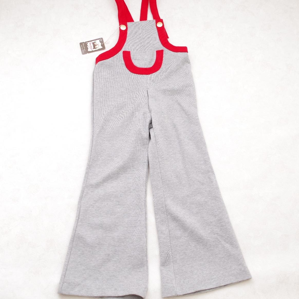 日本製 チャイルドのポケットつき サロペットロングパンツ エンジ色 5-6才用(1612-2548)