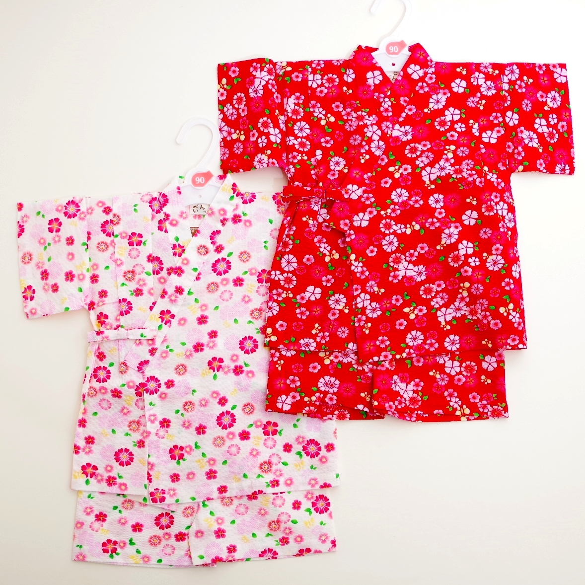 日本製 甚平スーツ 祭り 女の子 花 90cm/95cm(720912)