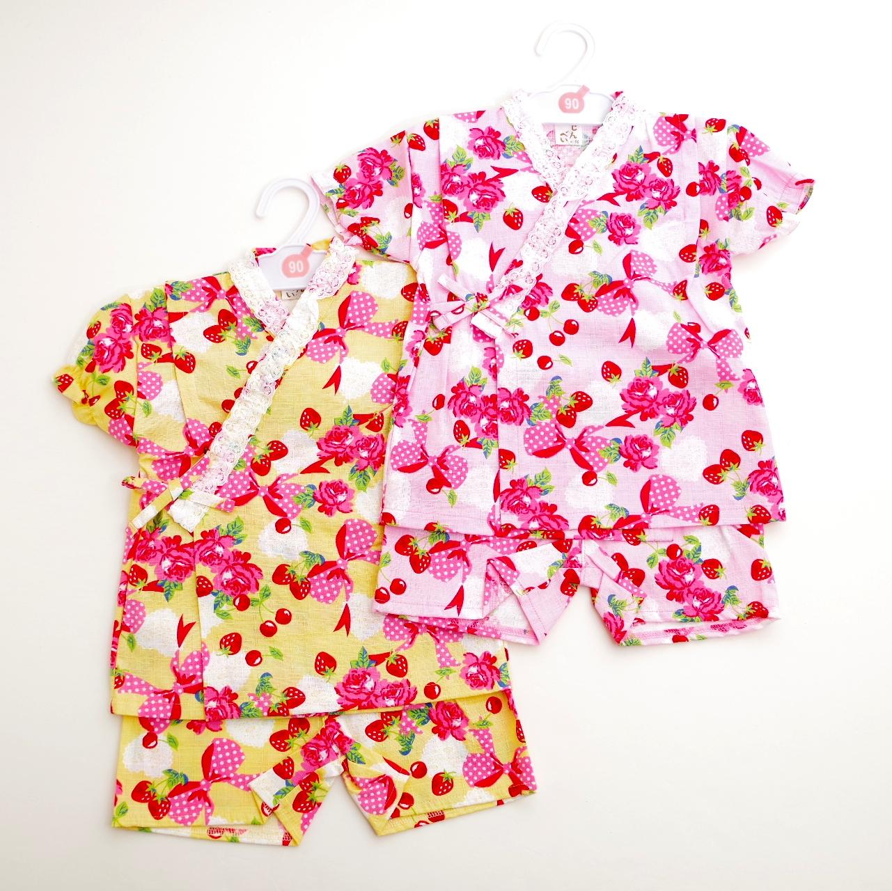 日本製 甚平スーツ 祭り 女の子 リボン  90cm/95cm(720950)