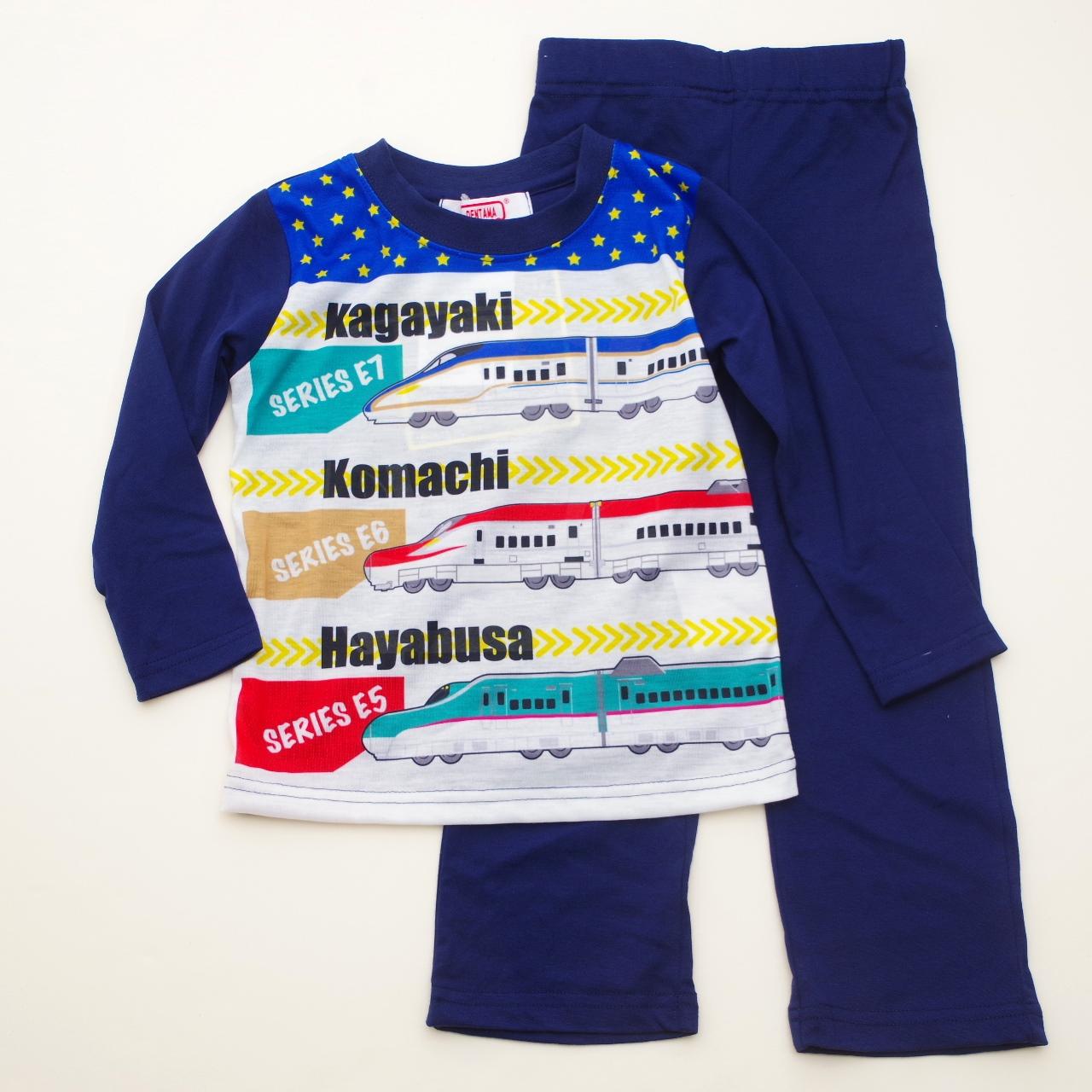 でんたま(新幹線) 光る長袖Tシャツパジャマ 100-130cm (832DT108113)