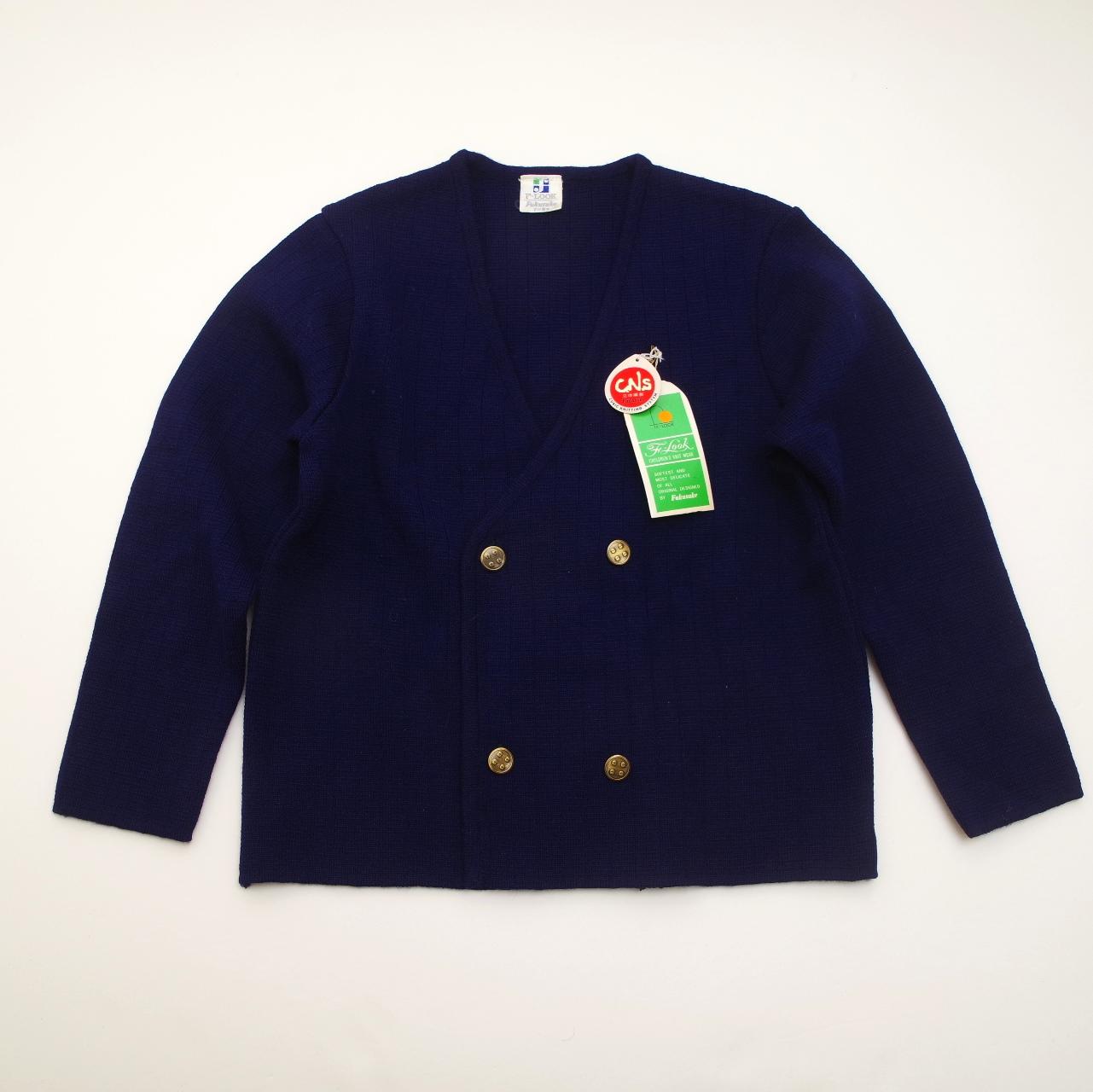 レトロ fukusukeのニットジャケット ネイビー 7-8才 (1805-0905)