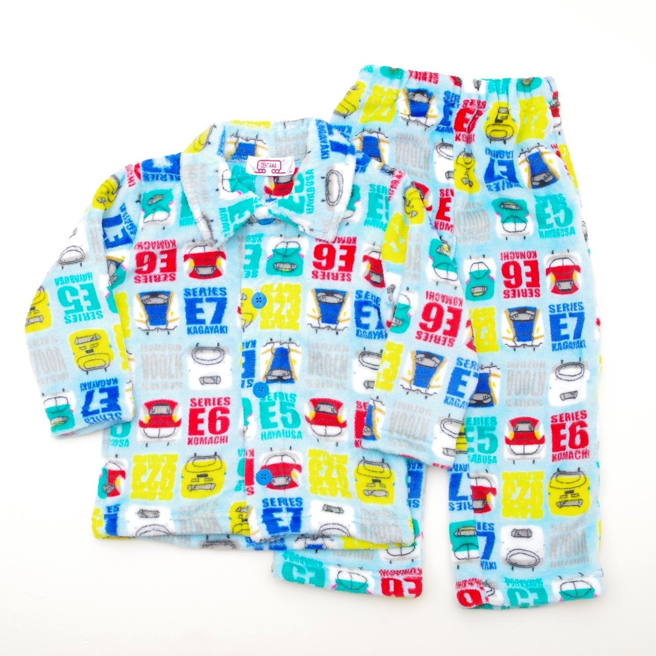 でんたま(新幹線) もこもこ 前開き 長袖パジャマ 100-130cm(834DT882113)