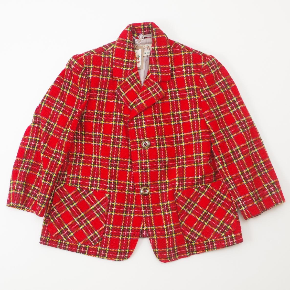 レトロ チャイルドのブレザージャケット 3-4才用 赤色(1811-1585)