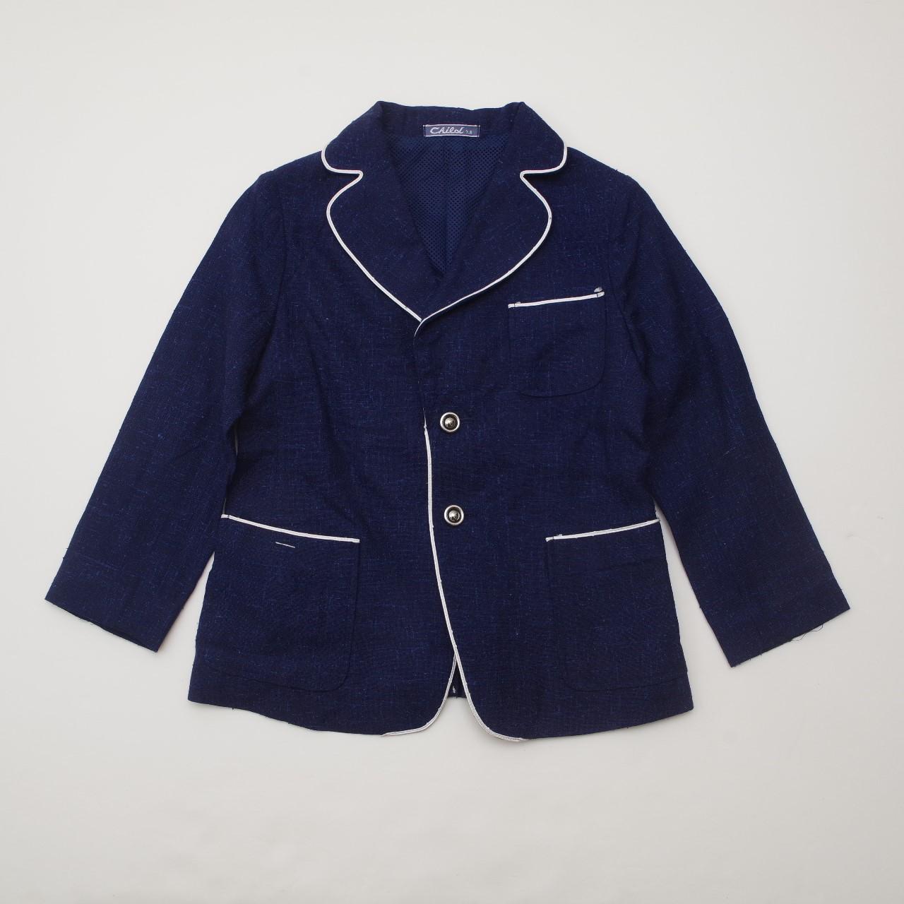 レトロ チャイルドのブレザージャケット 7-8才用 紺色(1903-2163)